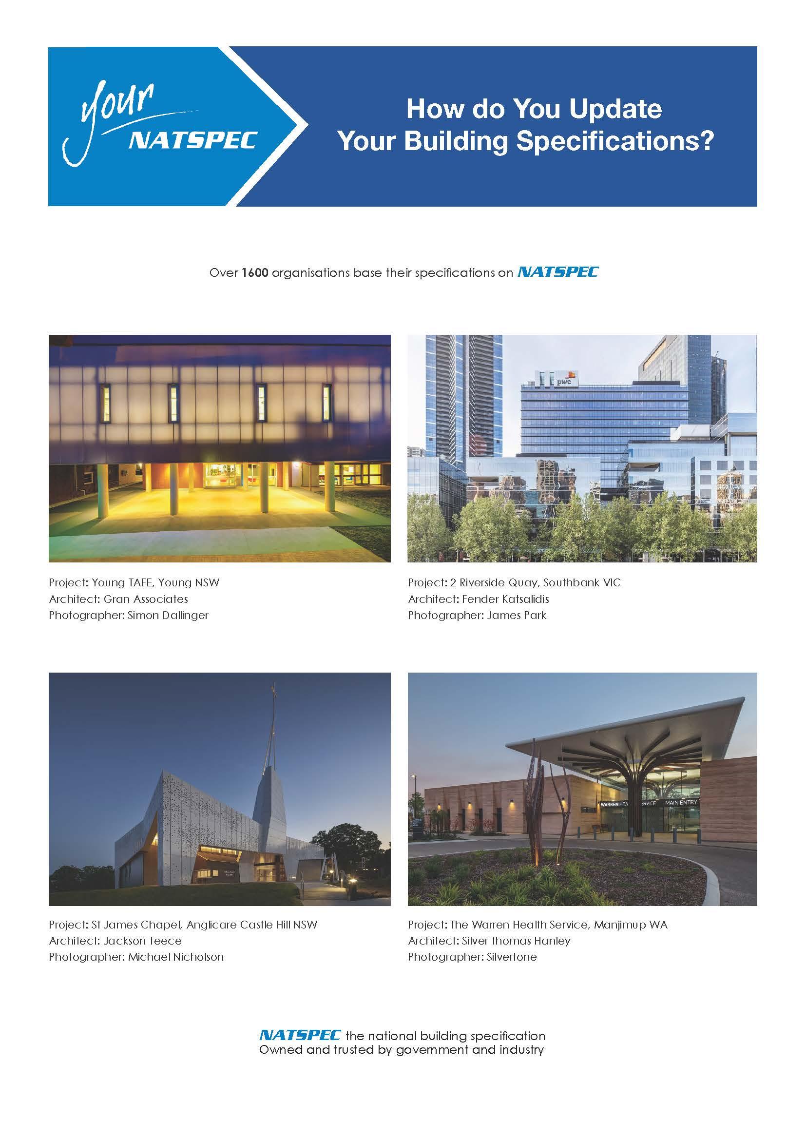 NATSPEC Professionals Package brochure 2020 cover